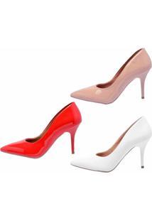 Kit 3 Pares Scarpin Ellas Online Nude/Vermelho/Branco