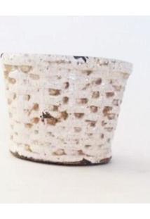 Vaso Ceramica Branco Com Designer De Palha - Branco - Dafiti