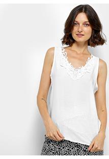 Blusa Sofia Fashion Guipir Pérolas Feminina - Feminino-Branco