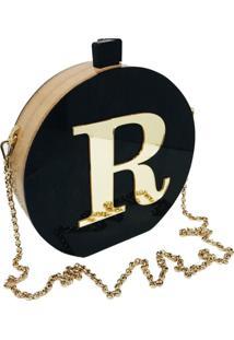 Bolsa Clutch Black Inicial Dourada Personalizada