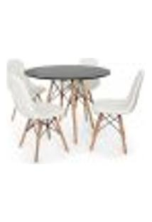 Conjunto Mesa Eiffel Preta 90Cm + 4 Cadeiras Dkr Charles Eames Wood Estofada Botonê Branca