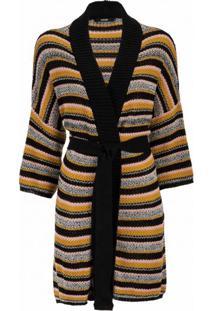 Amaro Feminino Kimono Tricot Listras, Listras Rosa C/ Mostarda