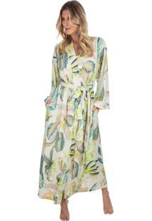 Robe Longo Em Fluity Botanical Print Verde - Kanui