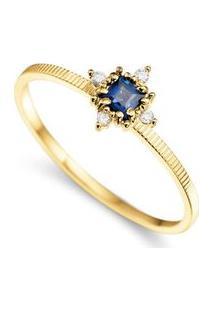 Anel Ouro Amarelo Safira E Diamantes