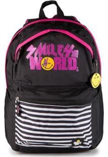 Mochila Gosuper World Casual Com Porta Notebook Escolar Universitaria Smiley - Feminino-Preto