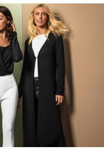 Cardigan Feminino Alongado Endless Preto