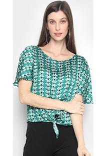 Blusa Mercatto Estampada Amarração Feminina - Feminino-Verde Escuro