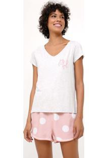 Pijama Manga Curta Estampa Poá