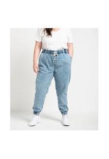 Calça Jogger Jeans Lisa Com Amarração No Cós Curve & Plus Size