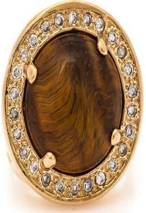 Anel Kumbayá Redondo Semijoia Banho De Ouro 18K Pedra Natural Olho De Tigre E Cravação De Zircônias