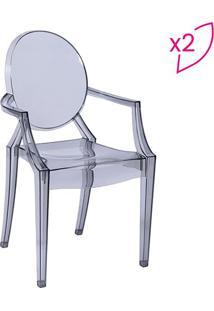 Jogo De Cadeiras De Jantar Invisible Com Braã§O- Incolor