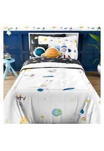 Edredom Infantil Solteiro Astronauta E Planetas Gráo De Gent Multicolorido