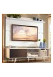 Rack Madesa Dubai E Painel Para Tv Até 65 Polegadas Com Pés - Branco/Preto 7309