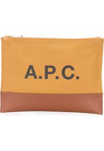 A.P.C. Clutch De Canvas E Acabamento Em Couro - Marrom