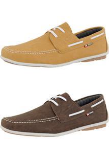Kit Dockside Casual Sintético Sapatofran Lançamento Café E Amarelo Cr Shoes