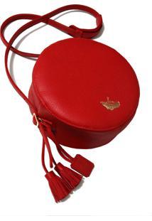 Bolsa Line Store Leather Redonda Couro Vermelho.