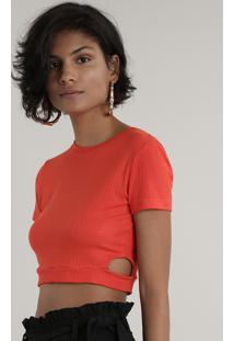 Blusa Feminina Cropped Canelada Com Vazado Manga Curta Decote Redondo Laranja
