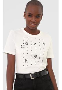Blusa Calvin Klein Aplicações Off-White
