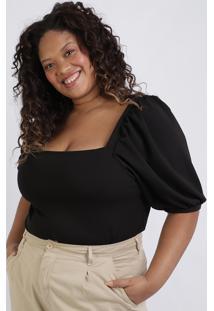Blusa Feminina Plus Size Manga Bufante Decote Reto Preta