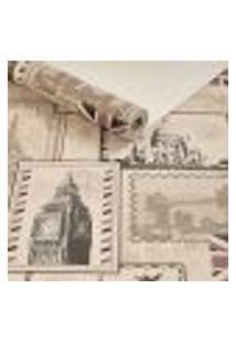 Papel De Parede Importado Vinilico Selos De Cartas Bege
