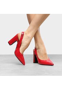 Scarpin Vizzano Salto Alto Bico Fino Verniz - Feminino-Vermelho