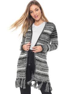 Maxi Cardigan Dress To Tricot Franja Preto/Branco