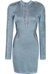 Balmain Vestido Com Detalhe Puído - Azul