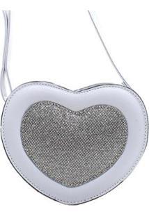 Bolsa Coração Com Brilho Feminino - Feminino-Azul Claro