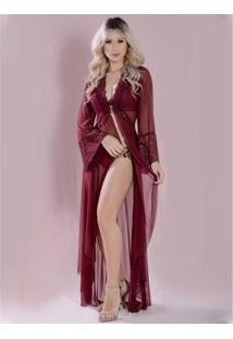 Robe Lamour Longo Yasmin Lingerie Feminino - Feminino-Vinho