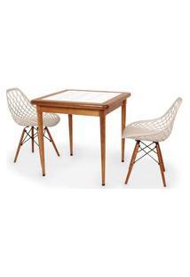 Conjunto Mesa De Jantar Em Madeira Imbuia Com Azulejo + 2 Cadeiras Vision - Nude