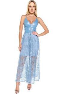 Vestido Midi Com Renda Caos Feminino - Feminino-Azul