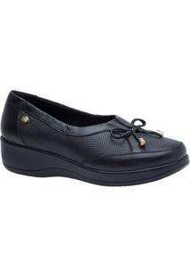 Sapato Conforto Doctor Shoes Couro Feminino - Feminino-Preto
