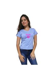 Camiseta Feminina Gola V Cellos Sigle Rose Premium Azul Claro