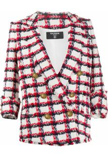 Balmain Jaqueta De Tweed Com Abotoamento Duplo - Branco
