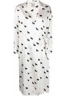 L'Autre Chose Vestido De Seda Com Estampa - Branco