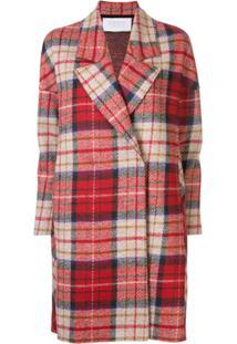 Harris Wharf London Trench Coat Xadrez - Vermelho