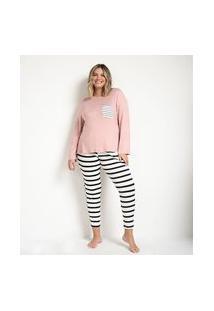 Pijama Blusa Manga Longa E Calça Em Viscolycra Curve & Plus Size | Ashua Curve E Plus Size | Rosa | G