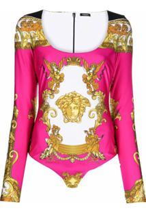 Versace Body Com Estampa Barroca - Rosa