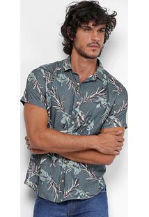 Camisa Reserva Estampada Floral Manga Curta Masculina - Masculino-Verde Militar
