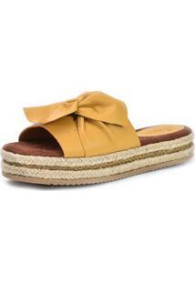 Sandália Flatform Scarpan Calçados Finos Em Couro Amarelo