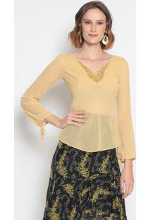 Blusa Com Renda- Amarela- Le Fixle Fix