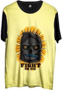 Camiseta Bsc Desenho Caveira Da Morte Sublimada - Masculino-Amarelo