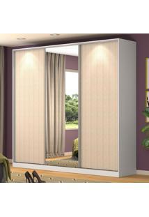Guarda-Roupa Casal 3 Portas Correr 1 Espelho 100% Mdf Rc3001 Branco/Noce - Nova Mobile