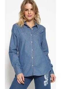 Camisa Jeans Com Pesponto - Azul - M. Officerm. Officer