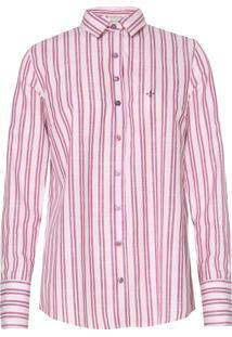 Camisa Dudalina Listrada Rosa