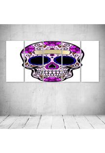 Quadro Decorativo - Floral Skull (3) - Composto De 5 Quadros - Multicolorido - Dafiti