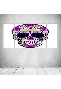 Quadro Decorativo - Floral Skull (3) - Composto De 5 Quadros