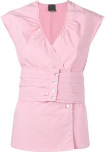 Pinko Blusa Com Botões - Rosa