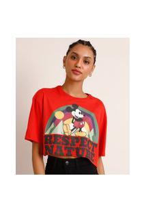 """Camiseta Cropped De Algodão Ciclos Mickey Mouse """"Respect Nature"""" Manga Curta Decote Redondo Vermelha"""