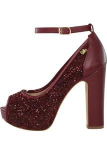 Peep Toe Meia Pata Week Shoes Glitter Glamuor Marsala